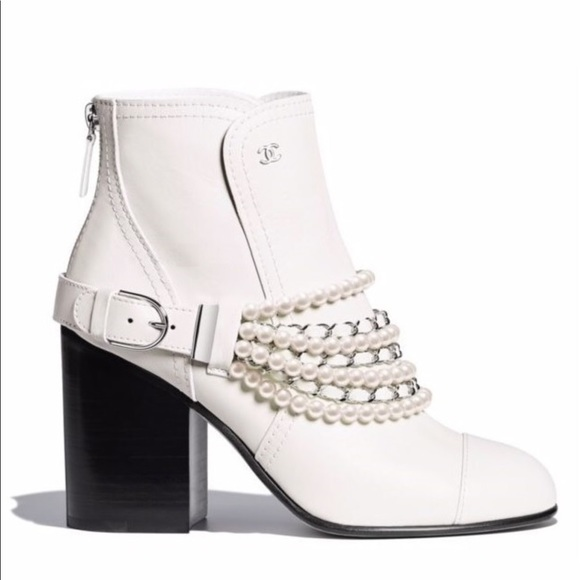 CHANEL Shoes | Chanel White Pearl Boots